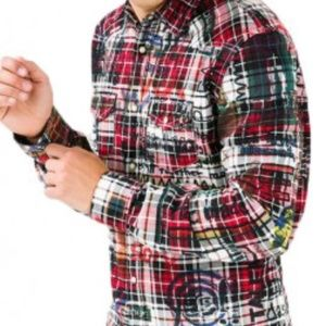 Desigual Plaid Pearl Snap Button Slim Fit Shirt